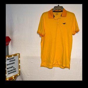 HOLLISTER Logo Short Sleeve Polo Shirt Mens Large Orange/yellow Lightweight 📳